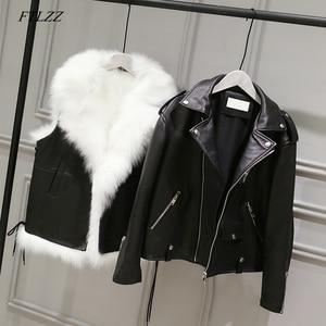 Image 1 - FTLZZ nouvelles vestes en cuir synthétique polyuréthane femmes blanc fausse fourrure gilet + noir Faux cuir Streetwear manteau court hiver femme neige vêtements dextérieur