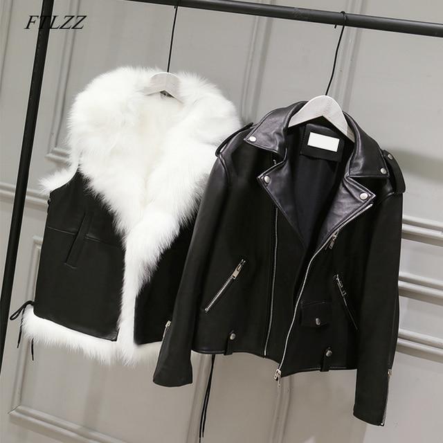 Куртка FTLZZ из искусственной кожи женская, короткий жилет из белого искусственного меха и уличная одежда черного цвета из искусственной кожи, зимняя верхняя одежда