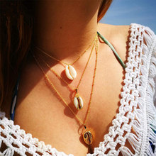 Natural Gold Necklace Women Cowrie Seashell Friend Layers Three Pendant of Shell Shell Best Necklace(China)