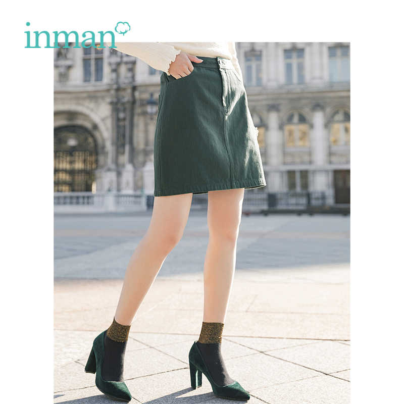 INMAN 2019 Spring New Arrival High Waist Retro Artistic Style Korean Student A Lined Chick Short Skirt