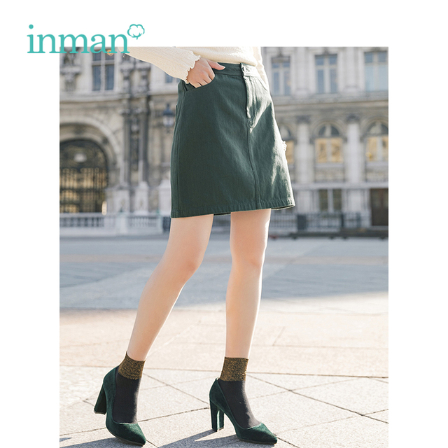 INMAN Spring High Waist Retro Artistic Style Korean Student A Lined Chick Short Skirt