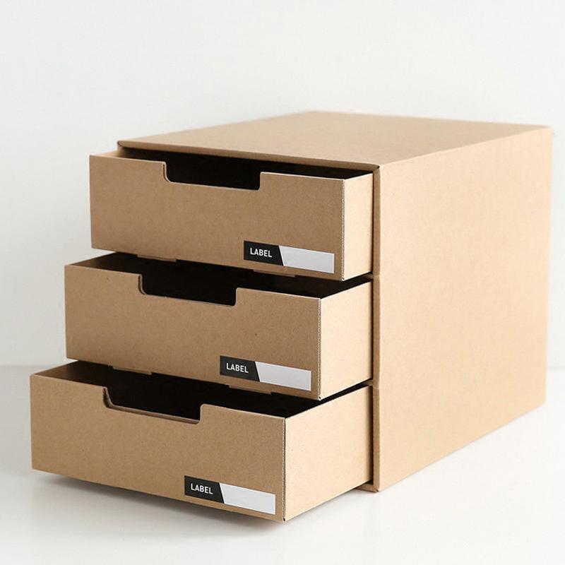Desktop Office Storage Box Kraft Paper Storage Box Creative DIY A4 Paper File Organizer Case 3 Drawer Box Container
