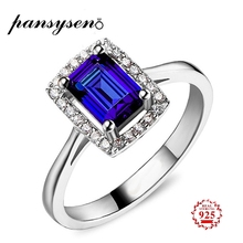 PANSYSEN Fashion Charms 9x7mm Sapphire Gemstone Silver 925 Jewelry Rings for Women Engagement Fine Ring Welcome Gifts