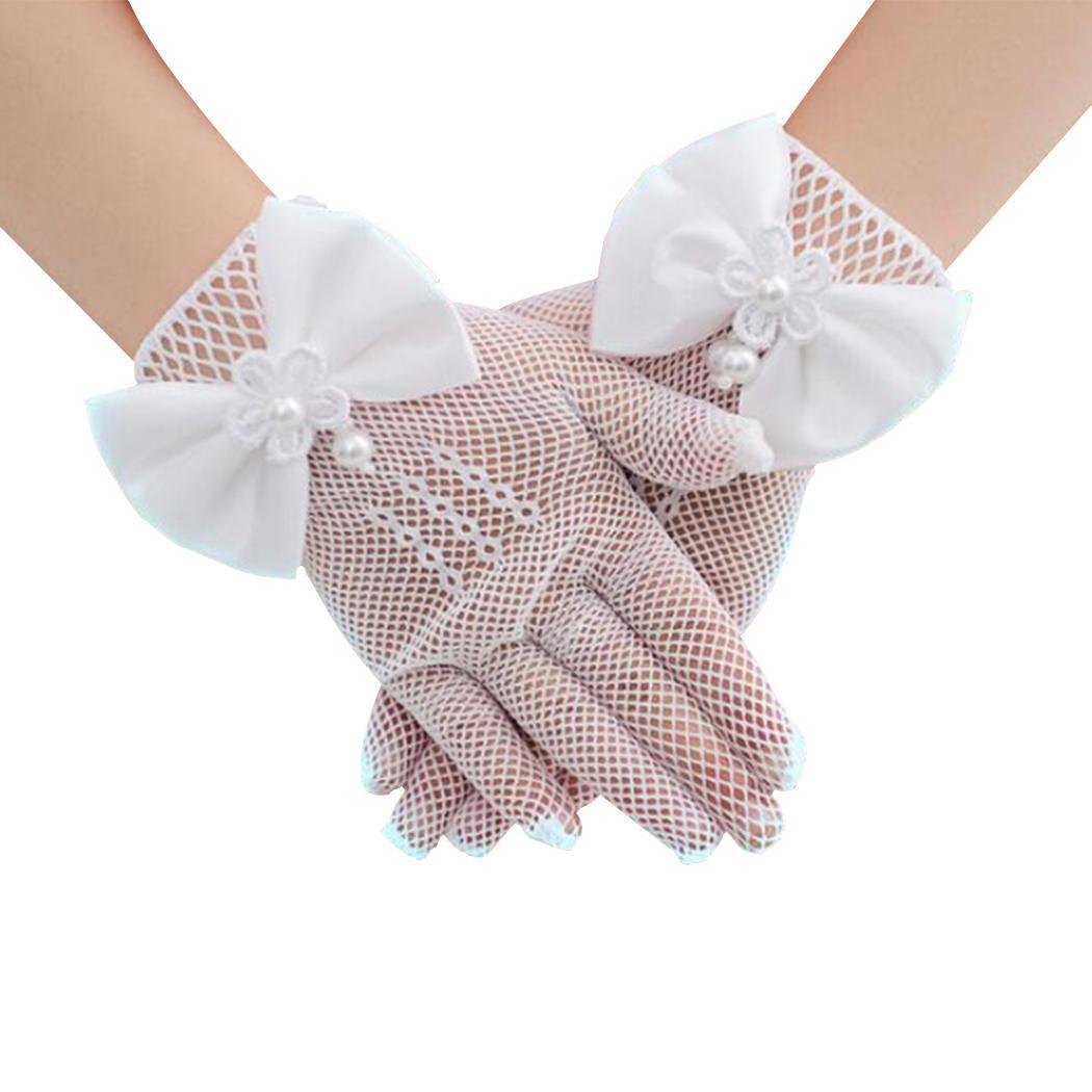 Nett 1 Paar Weiß Spitze Faux Perle Fishnet Handschuhe Kommunion Flowe Mädchen Kinder Handschuhe Braut Party Zeremonie Zubehör