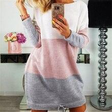Meihuida свободный свитер Для женщин с длинным рукавом Трикотажный Кардиган детский комбинезон свободного кроя Повседневное ВЯЗАННЫЙ ПУЛОВЕР Вечеринка платья