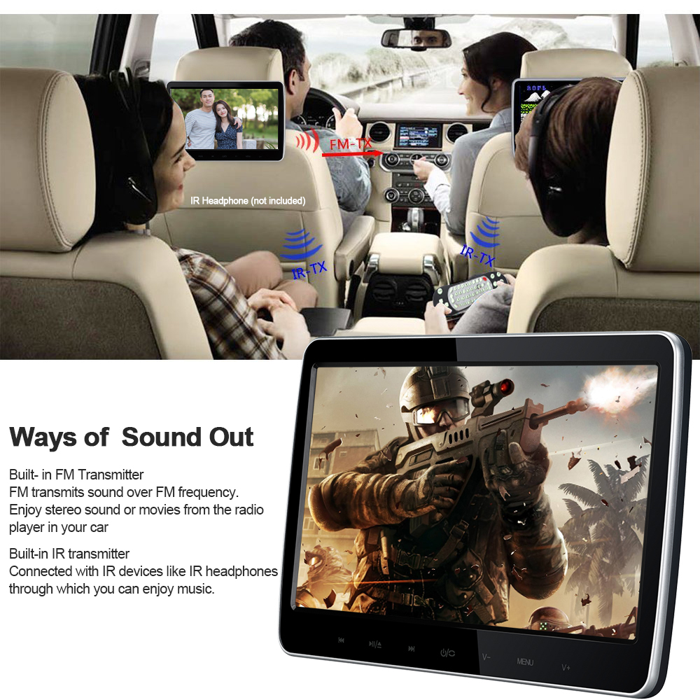 1018D 10 1 inch Digital TFT LED Screen Car Headrest DVD Video Player 16 9 Monitor