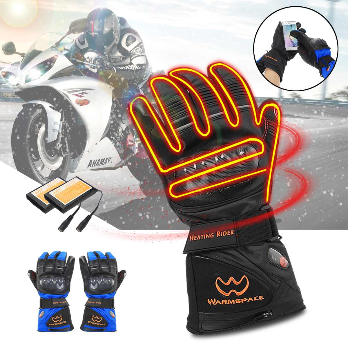 5600mah 7.4V Rechargeable Electric Gloves Heated Li Battery For Motorcycle Riding Snowboarding Skiing with 2 Battery