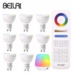 Dimmable LED Lamp RGB + CCT (2700-6500K) Mi Light 4W WIFI GU10 LED Spotlight 220V 110V LED Bulbs add 2.4G RF WIreless Controller