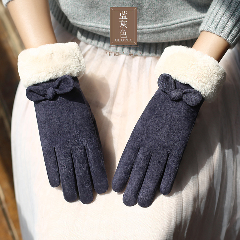 Gloves woman autumn and winter touch screen velvet lining warm suede student telefingers gloves thick warm gloves 0221 in Women 39 s Gloves from Apparel Accessories