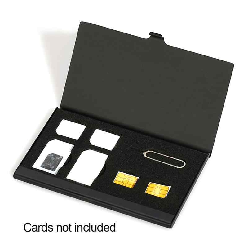 Alliage d'aluminium 1 Pin de carte + 6 carte SIM protection du support de la carte SIM boîte de rangement