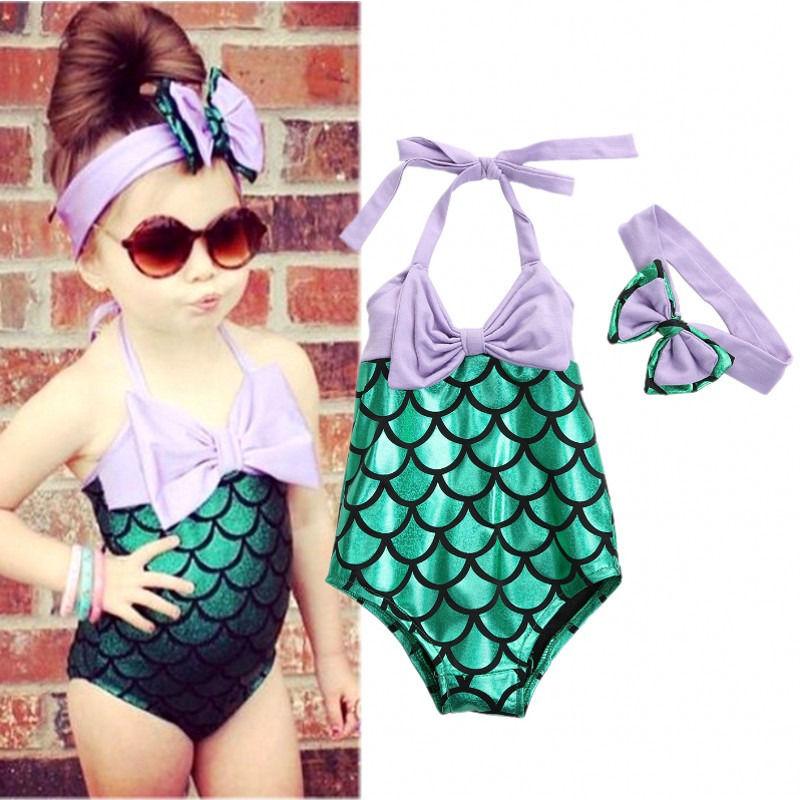 Bonito Bikini de sirena para niñas, bañador, traje de baño, diadema para nadar, traje de baño, ropa de niño niña, bikini