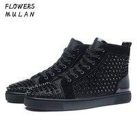 Роскошная мужская обувь ручной работы, черный цвет, шиповки, высокие модные дизайнерские мужские туфли, Брендовые мужские лоферы для ночног