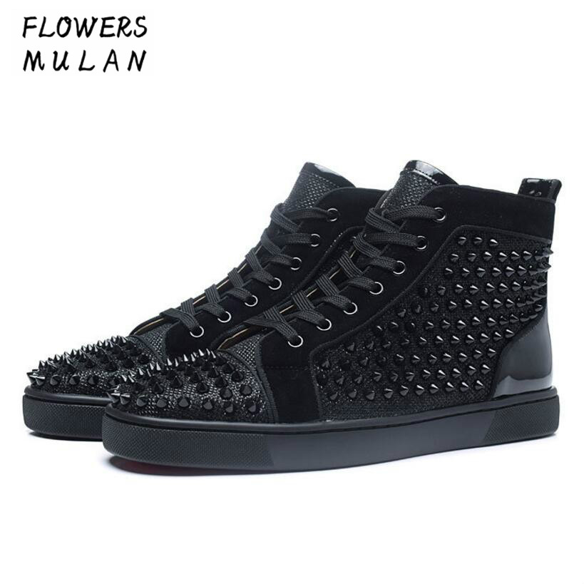 Handmade Luxury Shoes Men Black Spikes Shoes High Top Fashion Designers Male Shoes Brand Men Loafers Nightclub Stud Men's Flats