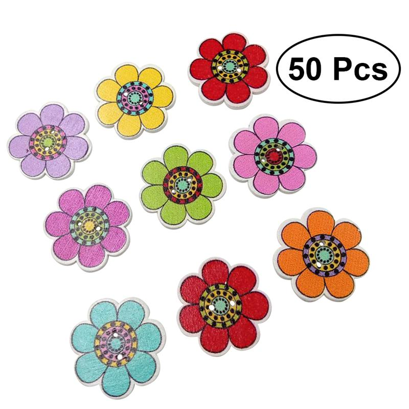 Fish & Aquatic Supplies 50pcs 25mm Colorful Diy Wooden Small Fresh Cartoon Seven Petals Sunflower Pattern Buttons For Hat Clothes Crafts Consumer Electronics