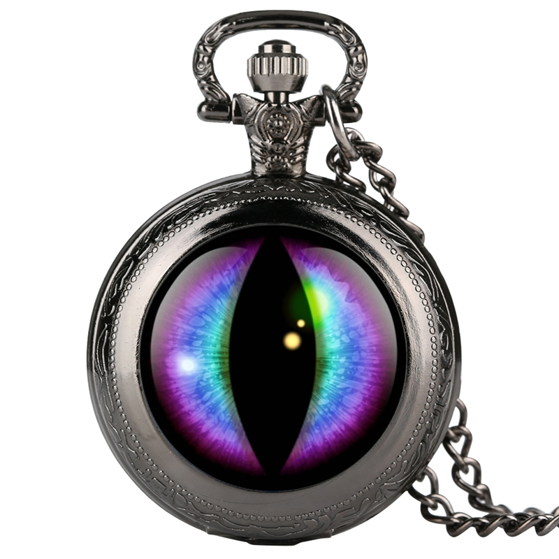 Purple Round Face Dragon Eye Song Of Ice And Fire The Game Of Thrones Necklace Design Quartz Pocket Watch Chain Pendant Necklace