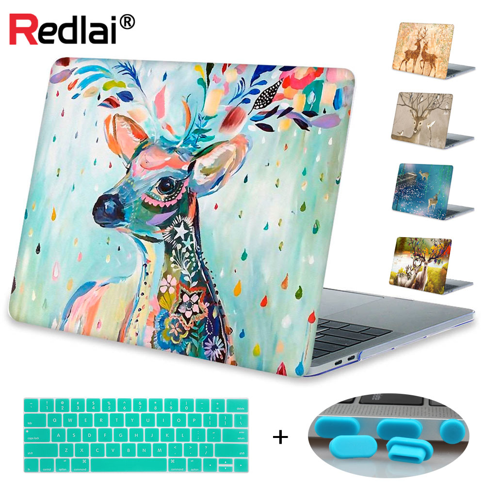 Redlai Milu Deer Print Hard Case Cover For MacBook Air Pro Retina 11 12 13 15 Laptop Case For Mac book Pro 13 15 with Touch Bar свитшот print bar bradwarden centaur warrunner