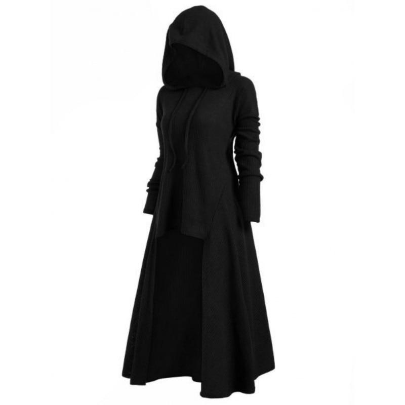 TryEverything Gothic Punk Jacket Women Black Hooded Plus size Winter 2019 Coat F