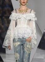 См. оранжевый винтажный дворец белая кружевная блузка весна лето женские топы сексуальные цветочные с расклешенными рукавами женские топы