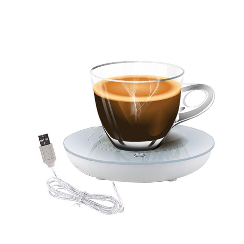 Bosiwee Tea Warmer Pad White Porcelain Heating Coaster USB Cup Mat Heating Coaster Coffee Mug Warmer with Black Silicone Cup Cover for Home and Office Use