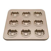 Cookies Bread Loaf Baking Pans 9 Holes Funny Pig Shape Carbon Steel Baking Tray Soap Candy Fondant Chocolate Kitchen Mould