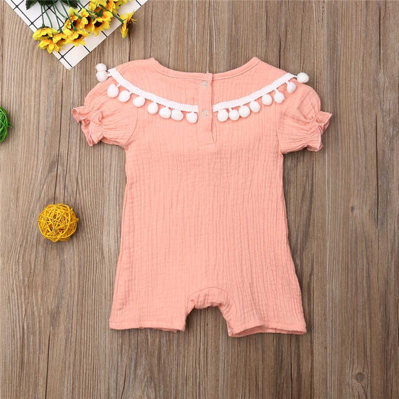 Mameluco de niña recién nacido Ropa de niña infantil de Color sólido de moda borla bola mono trajes ropa nueva ropa de verano
