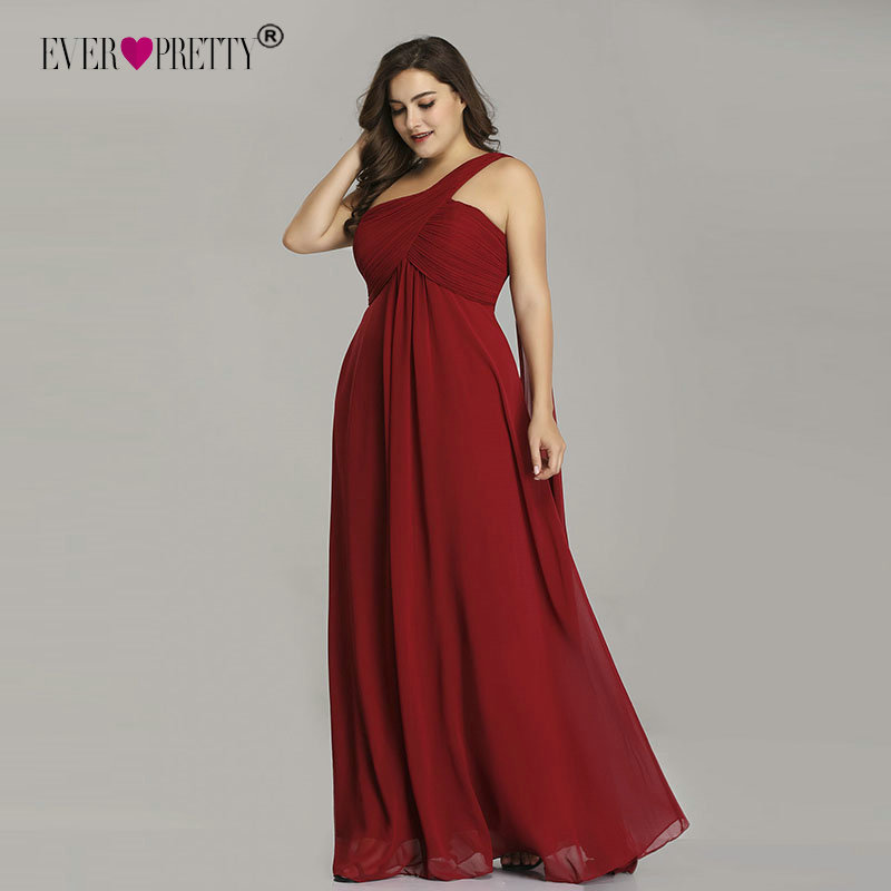 Plus Size Prom Dresses Long Ever Pretty EP09816 2019 Sexy Elegant A line Chiffon Burgundy One