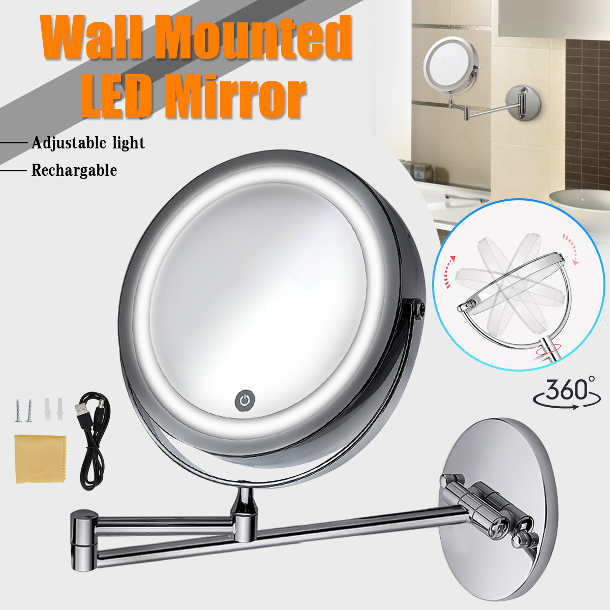 7inch LED Light Wall Mount Extending Folding Double Side Makeup Mirror 10x Magnification Bath Shaving Chrome Bronze Finish7inch LED Light Wall Mount Extending Folding Double Side Makeup Mirror 10x Magnification Bath Shaving Chrome Bronze Finish