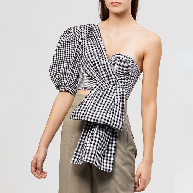 TWOTWINSTYLE Off Shoulder Sexy Plaid Shirt For Women Puff