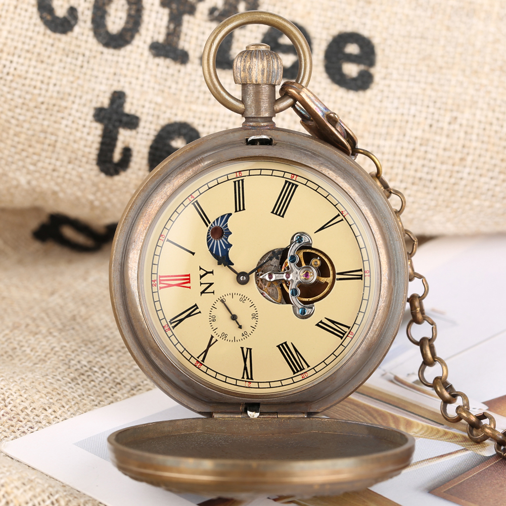 Bronze Pocket Watch for Men Artistic Personality Photo Mechanical Pocket Watches for Women Automatic-self-winding Pendant Watch