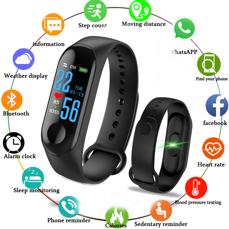Robotsky M3 Smart-Bracelet Detachable Fitness Band Blood Pressure Tracker Heart Rate Monitor Smart Band Wristband for Android IOS m3 smart band features