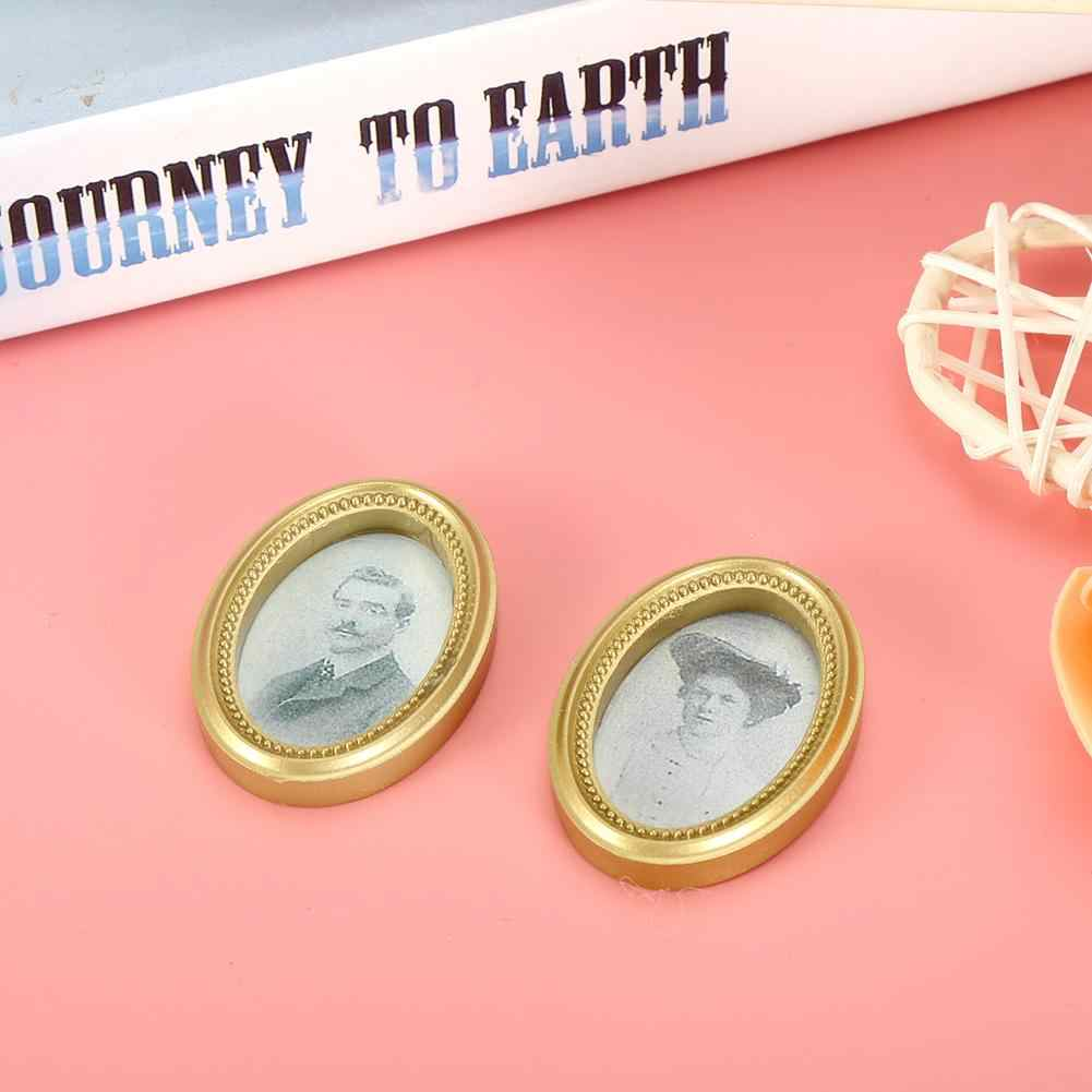 2Pcs/Set Mini Oil Painting Set Doll House Miniature Poppenhuis DIY Oval Frame Picture Dollhouse Furniture Accessories dropship