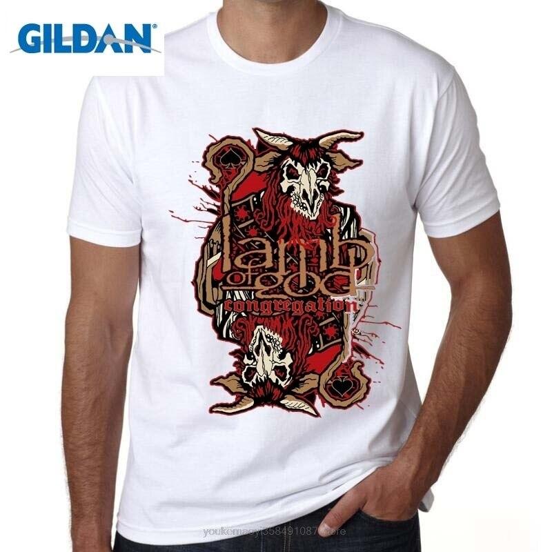 GILDAN fashion tshirt men Print Tee Shirts Design O-Neck Short-Sleeve Lamb Of God Heavy Metal T-Shirt T For Men
