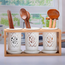 Household Ceramic Rod Storage Rack Porous Drainage Spoon Knife And Fork, Kitchen Supplies / Memory Accessories