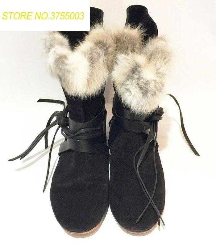 51d4dbcdb9875 Real Rabbit Fur Women Leather Straps Lace Up Snow Boots Black Suede Leather  Ladies Flat Ankle Boots 2018 Winter Hot Boots Size41