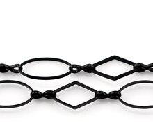 Adorável 1PC Preto Elo Da Cadeia Oval & Rhombus 16x9mm 16x8mm,1M(39 3/8