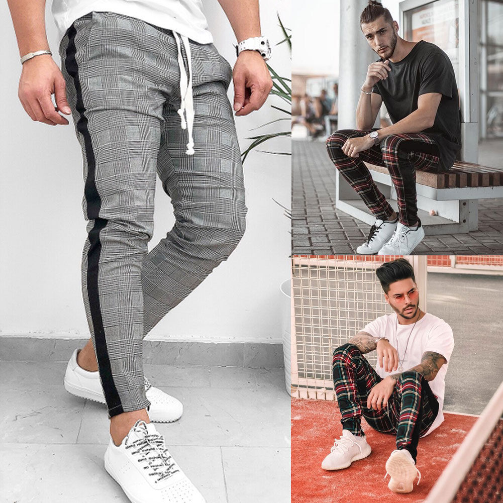 Fashion Mens Pants Hip Hop Korean Stylish Plaid Slacks Casual SFitness Workout Skinny  Port Pants Trousers Hot