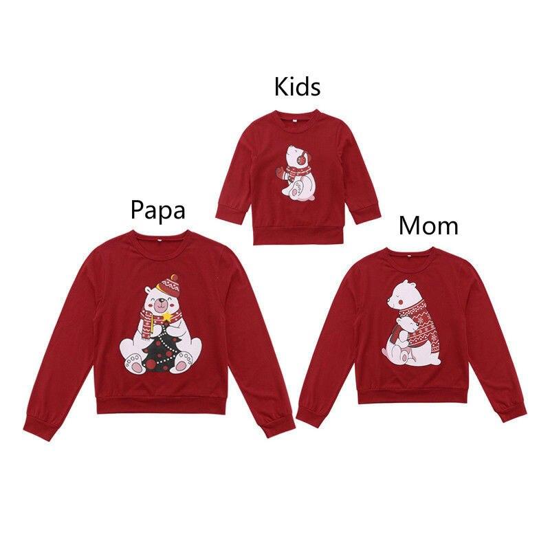 Fashion Christmas Family Matching Outfits Men Women Kid Bear Sweatshirt Hoodie Sweater Coat Red