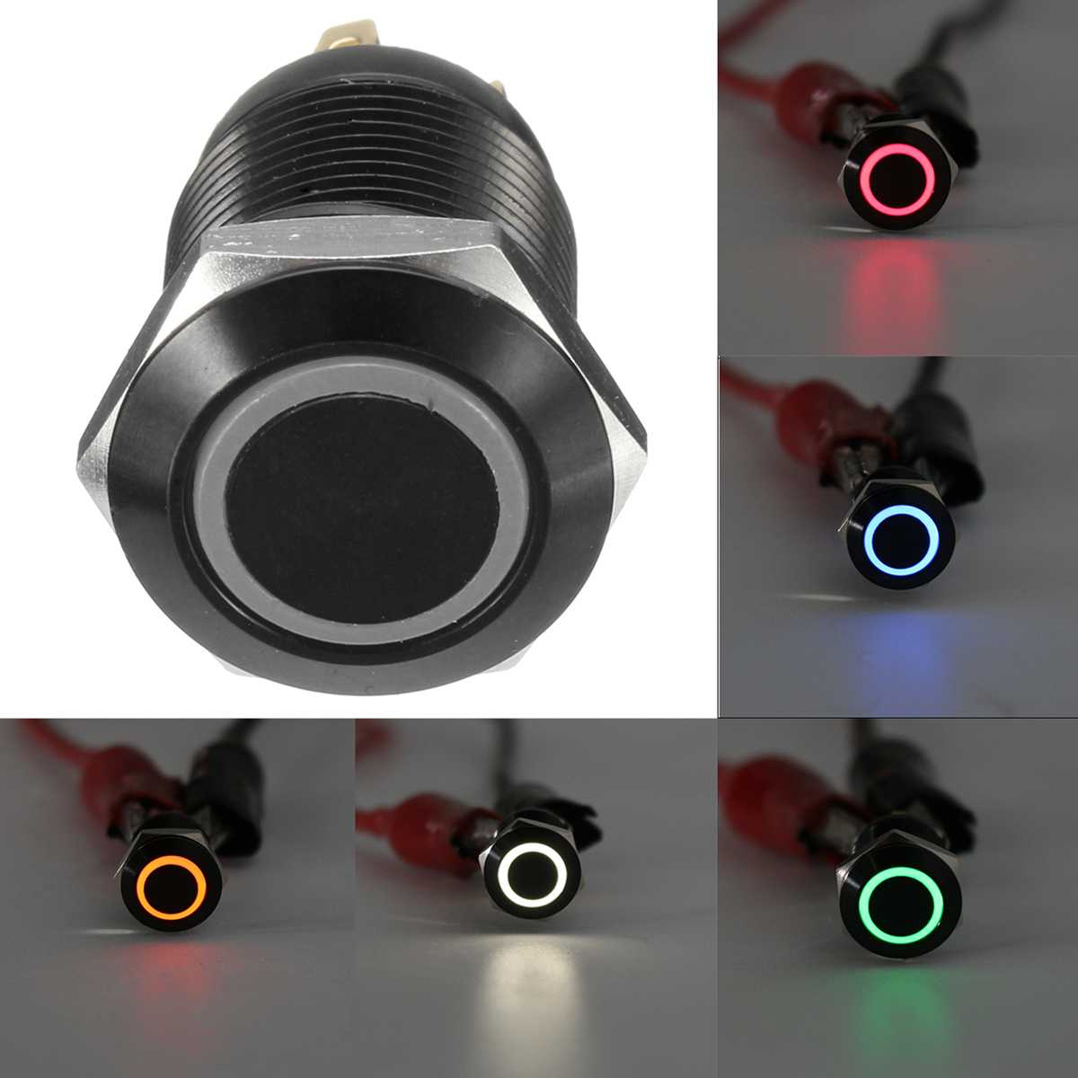 Black 4 Pin 12mm LED Light Metal Push Button Momentary Switch Waterproof 12V Switches Car Electronics(China)