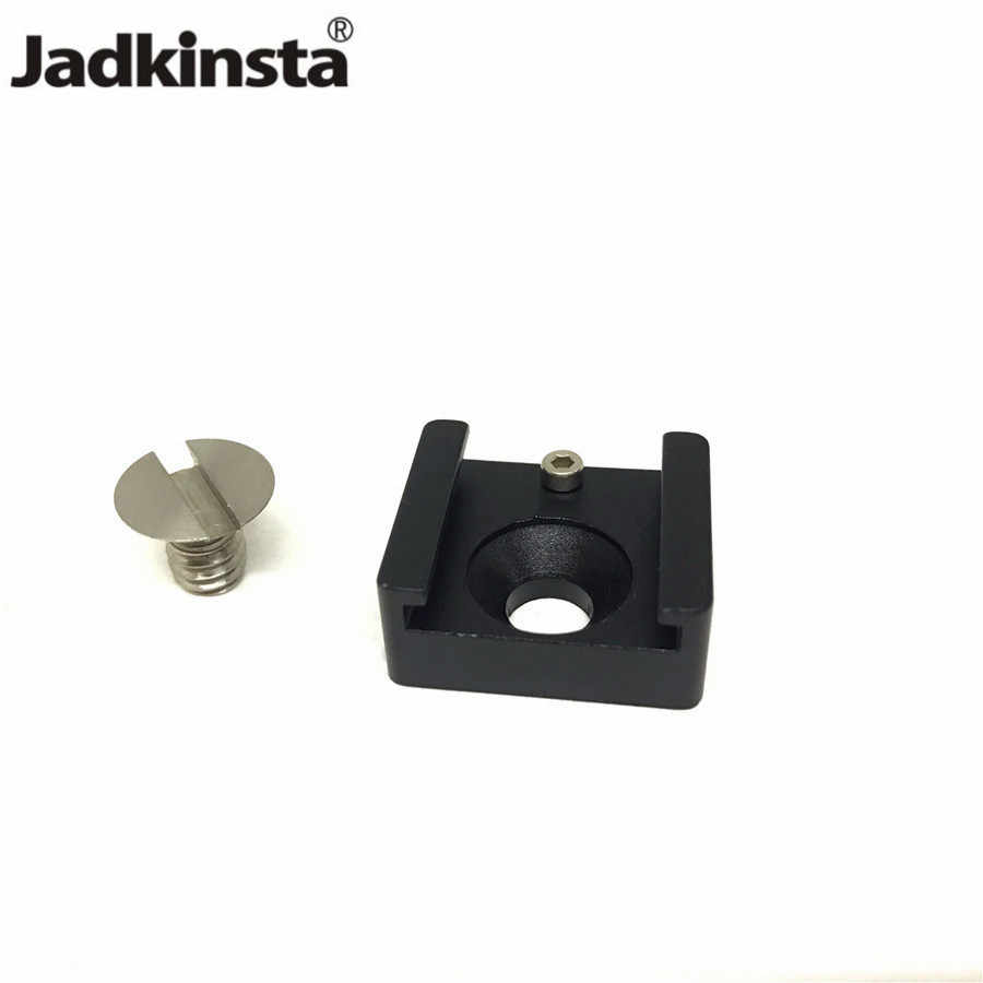 "Jadkinsta Cold Shoe Mount Adapter Base with 1/4"" Mounting Screw for Camera Cage Flash LED Light Microphone Hot Shoe Adapter"