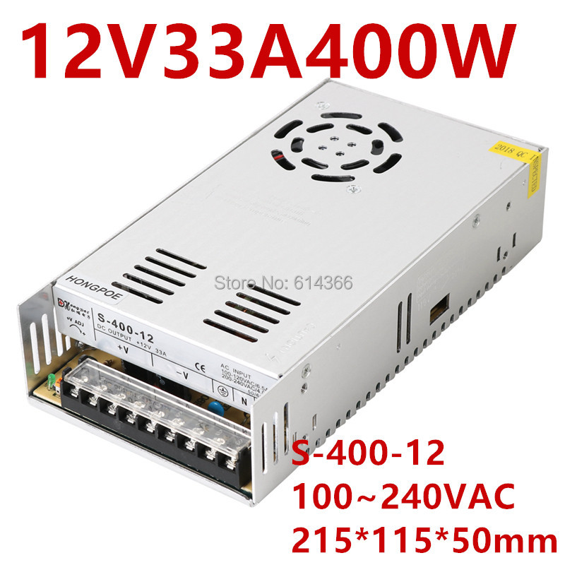 Best quality 12V 33A 400W Switching Power Supply Driver for LED Strip AC 100-240V Input to DC 12V33ABest quality 12V 33A 400W Switching Power Supply Driver for LED Strip AC 100-240V Input to DC 12V33A