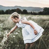 Pudcoco/Белое платье для маленьких девочек; одежда для маленьких девочек; платья с оборками; праздничное платье-пачка принцессы; сезон лето