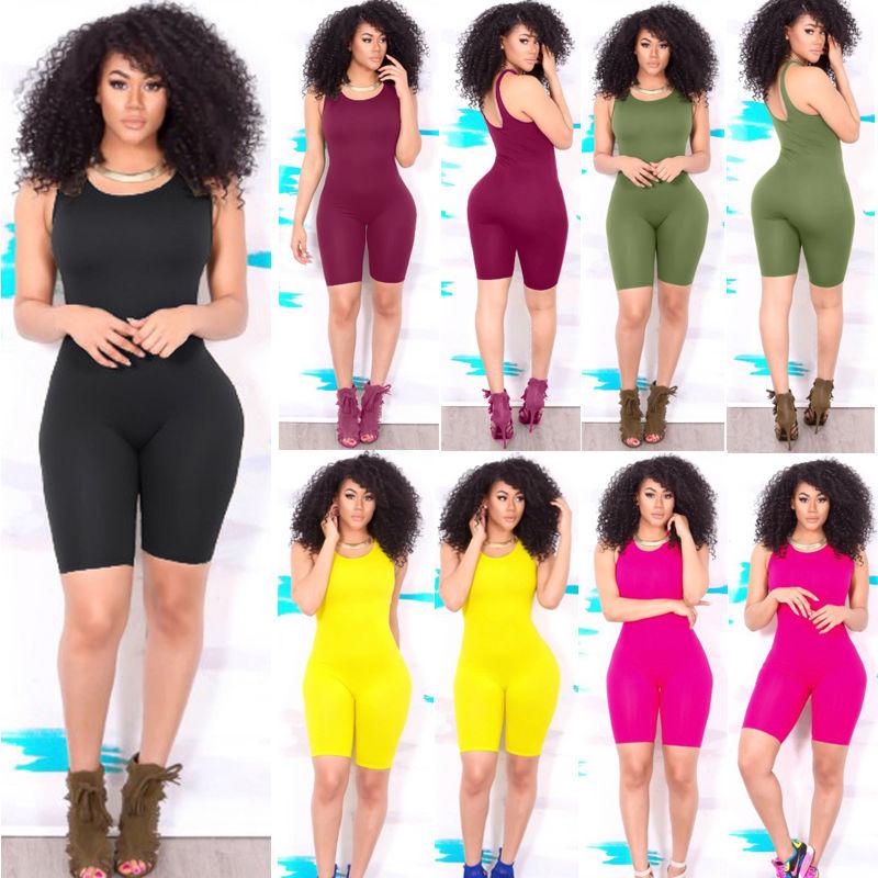 Ladies Casual Sleeveless Bodycon Bodysuit Summer Ladies Solid Color Fashion Women Bodysuits Women Clothing