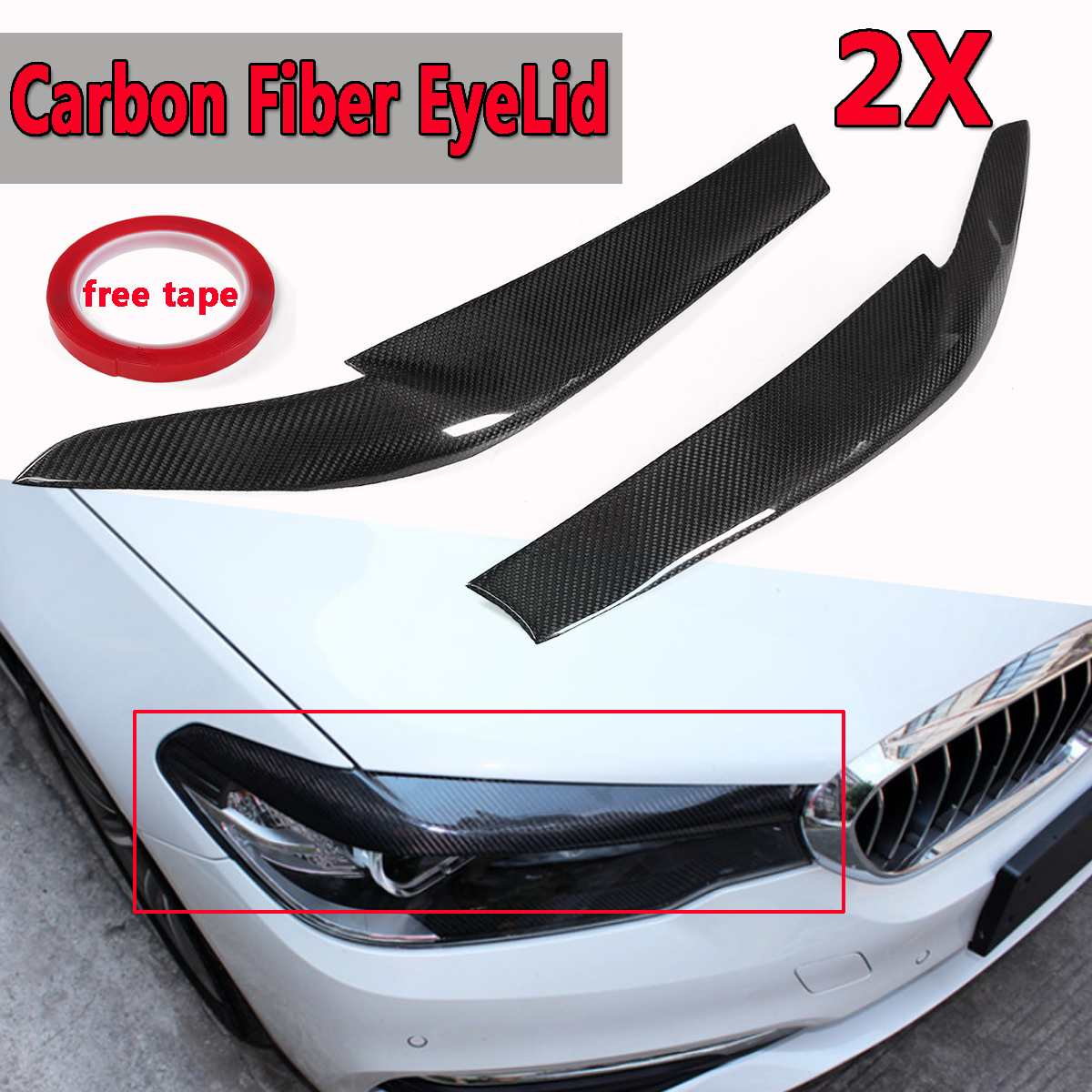 Real Carbon Fiber Car Front Headlight EyeLids Eyebrows Cover For <font><b>BMW</b></font> <font><b>G30</b></font> <font><b>530i</b></font> 540i M550i 2017-2018 Head Lamp Cover Caps Eye Lid image