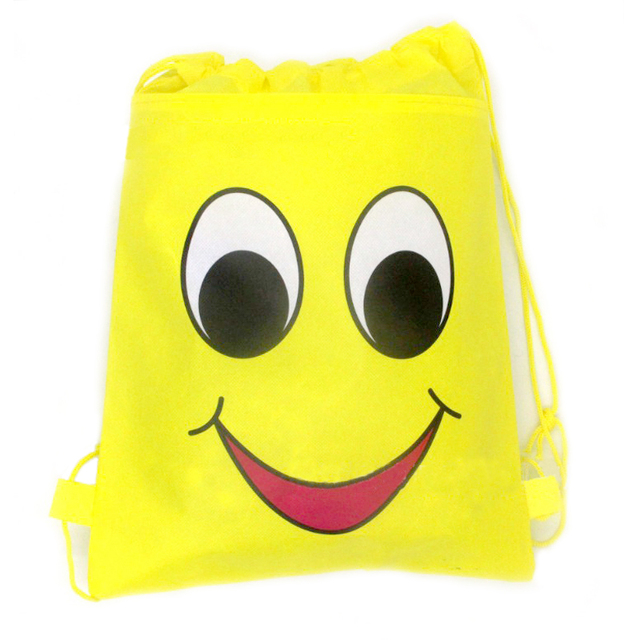 Baby Shower Emoji Theme Mochila Kids Favors Birthday Party Decoration Drawstring Gifts Bags Non Woven Fabric Backpack 3427cm