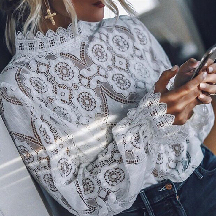 Fashion Womens Floral Lace Tops Sexy Crochet   Blouse     Shirts   Long Sleeve Hallow Out Lace   Blouses   Ladies Loose Spring   Shirts   Tops