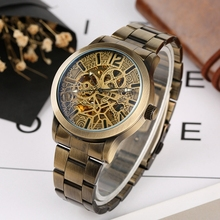 Bronze Metal Skeleton Mechanical Watch Men Automatic Watch Sport Luxury Top Brand Retro Stainless Steel Watch Relogio Masculino winner men luxury brand roman number skeleton stainless steel watch automatic mechanical wristwatches gift box relogio releges