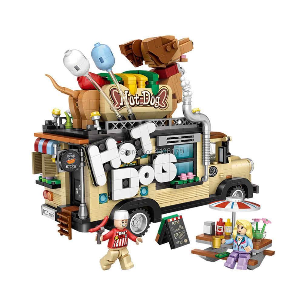 حار LegoINGlys تكنيك المركبات المبدعين هوت دوج عربات مايكرو الماس اللبنات الغذاء شاحنة سيارة نموذج الشكل ألعاب مكعبات هدية