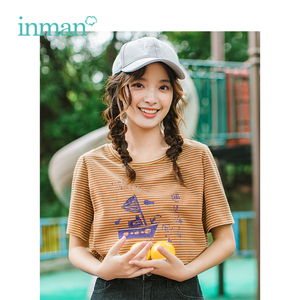 INMAN 2019 Summer New Arrival O-neck Literary Print Casual Striped All Matched Slim Short Sleeve Women T-shirt