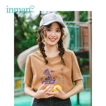 INMAN 2019 Summer New Arrival O-neck Literary Print Casual Striped All Matched Slim Short Sleeve Women T-shirt - discount item  63% OFF Tops & Tees