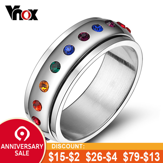 f0f8b6f0f Vnox Rotating Spinner Ring for Women Rainbow Crystal Stone Stainless Steel  USA Size